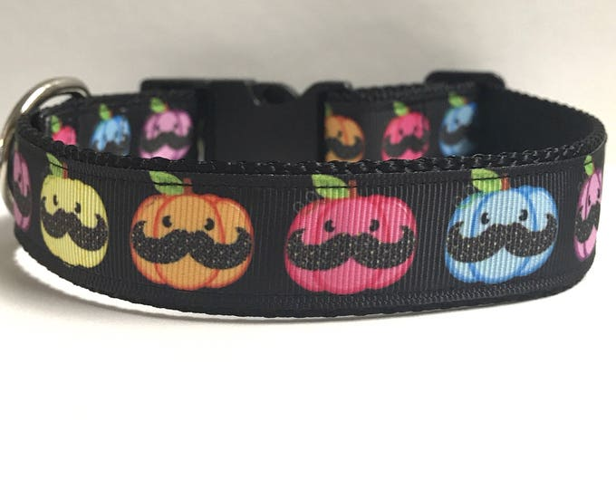 """1"""" Pumpkins with mustaches Dog collar"""