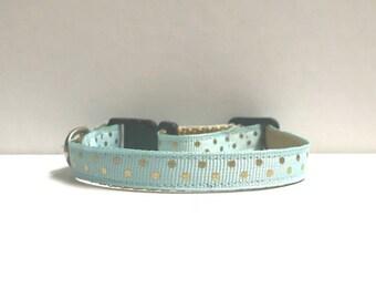 """3/8"""" Light Blue/seafoam & gold Dots Collar"""