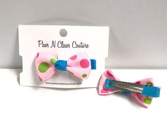 Pink & Blue with dots hair clip