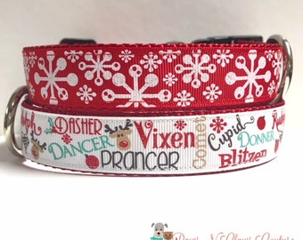 """1"""" Reindeer Names (Leash Available) or Snowflakes Dog Collar"""