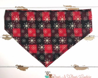Red and Black Plaid Glitter Snowflake Bandana