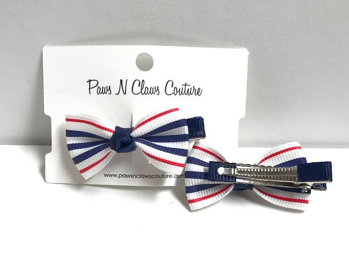 Red & blue stripes hair clip
