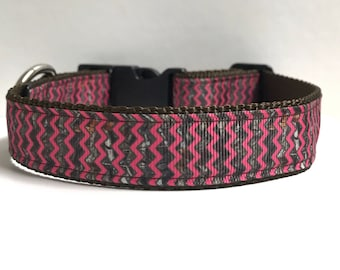 "Camo Pink Zig Zag Ribbon Dog Collar 1/""Adjustable Dog collar Mossy Oak"