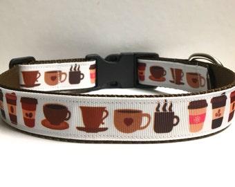 "1"" Cups of coffee Dog Collar"