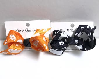 BOO, Ghosts on orange or black hair bow clip