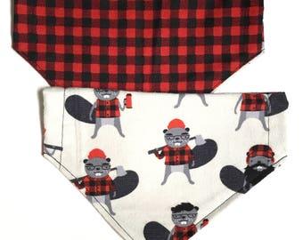Reversible Burly Beavers and plaid bandana