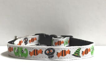 """3/8"""" Skulls, candy and witches feet collar"""