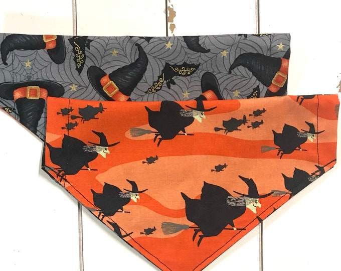Reversible flying witch and hats bandana
