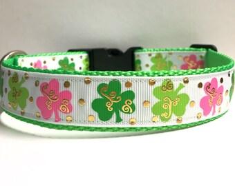"1"" Pink & Green Dog Clovers"
