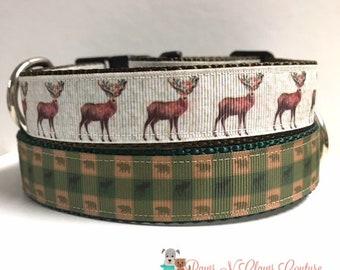 """1"""" Christmas Reindeer or Plaid mini Bear and Moose Dog Collar"""