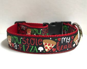 """1"""" You Stole A Pizza of My Heart Dog Collar"""
