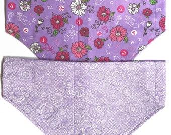 Reversible purple floral bandana