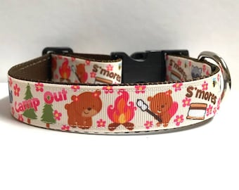 "1"" Camp out & S'mores Dog Collar"