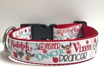 "1"" Reindeer Names Dog Collar, Leash Available"