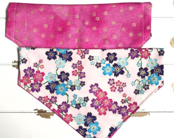 Reversible Cherry Blossom on Pink Bandana