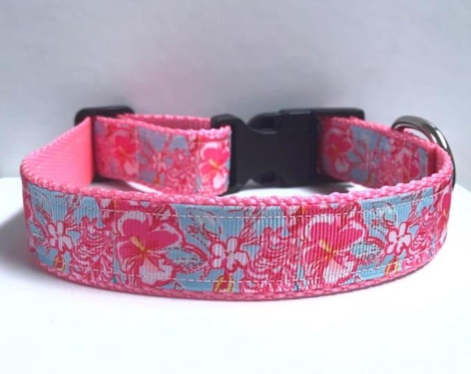 "1"" Pink light blue lolita lilly inspired collar"