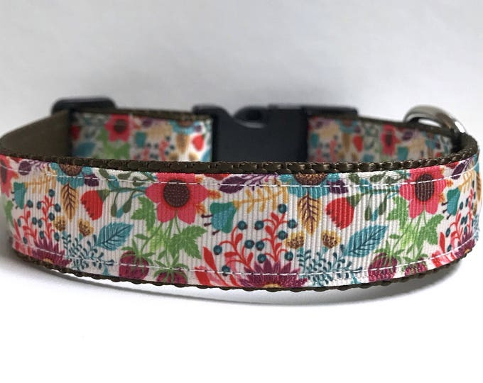 """1"""" Wildflower meadow collar, Leash Available"""