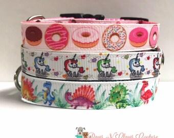 "5/8"" Unicorn, Dinosaurs or Doughnuts Dog Collar"