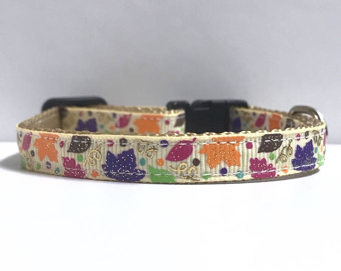"""3/8"""" Colorful fall leaves collar"""