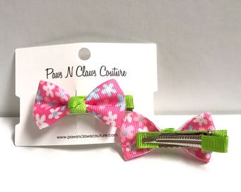 Pink & Green floral Hair clip