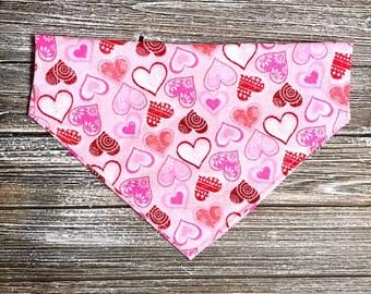 Glitter hearts on pink Bandana