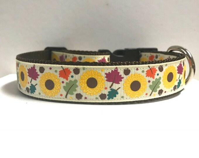 """1"""" Glitter Sunflowers & Leaves Dog Collar"""