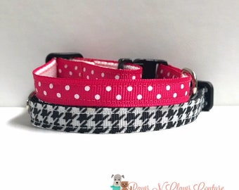 """3/8"""" Sweater Weather in Black or Pink and white dots collar"""