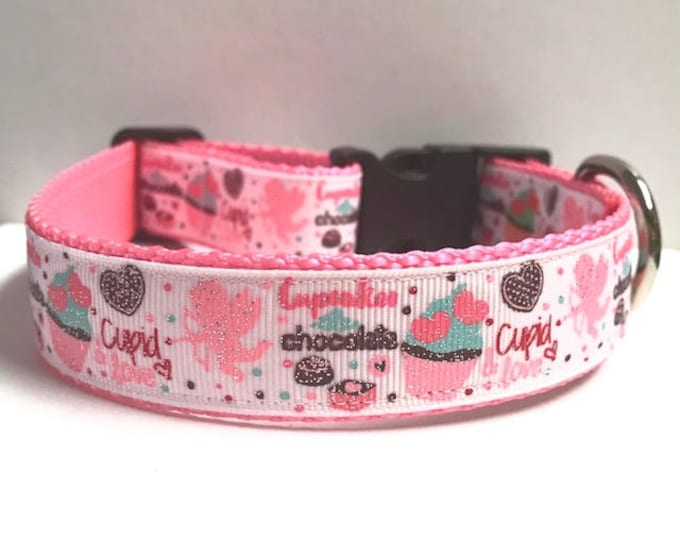 "1"" Cupcakes and Chocolate, Cupid and Love Collar"
