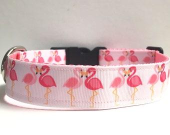 """1"""" Heart flamingos Dog collar"""