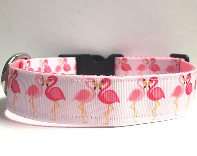 """1"""" Heart flamingos collar"""