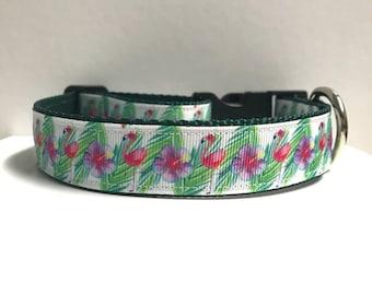 """1"""" Tropical Flamingos Collar"""