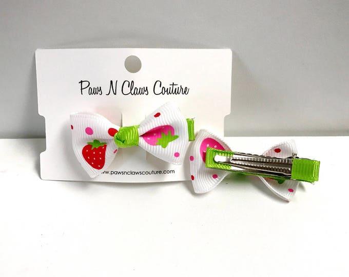 White & Green fruit hair clip