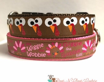 """1"""" Wiggle and wobble or Silly Turkey eyes Dog collar"""
