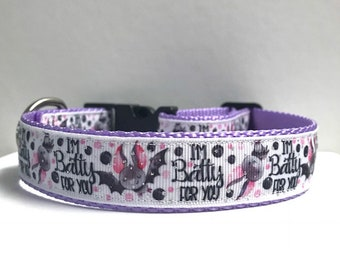 "1"" Batty for you Dog Collar"