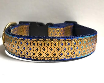 """1"""" Gold Foil Fish Scales Collar"""