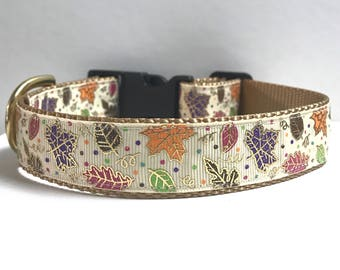"""1"""" Colorful Fall Leaves Dog collar"""