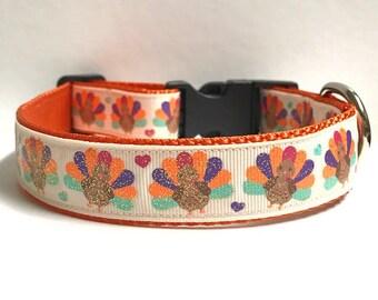 """1"""" Glitter Turkeys & Hearts Dog Collar"""