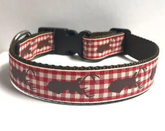 """1"""" Red plaid deer Dog collar, Leash Available"""