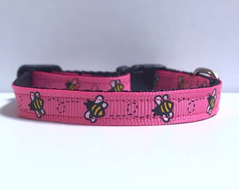"3/8"" bumble bee in pink collar"