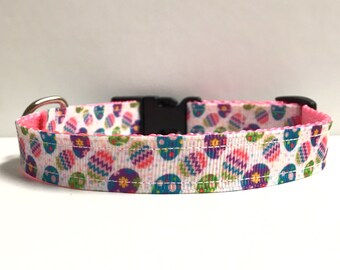 "5/8"" Easter eggs and polka dots collar"