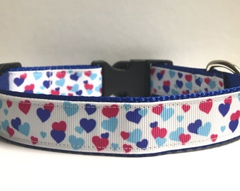 """1"""" Blue & pink hearts on Navy collar"""
