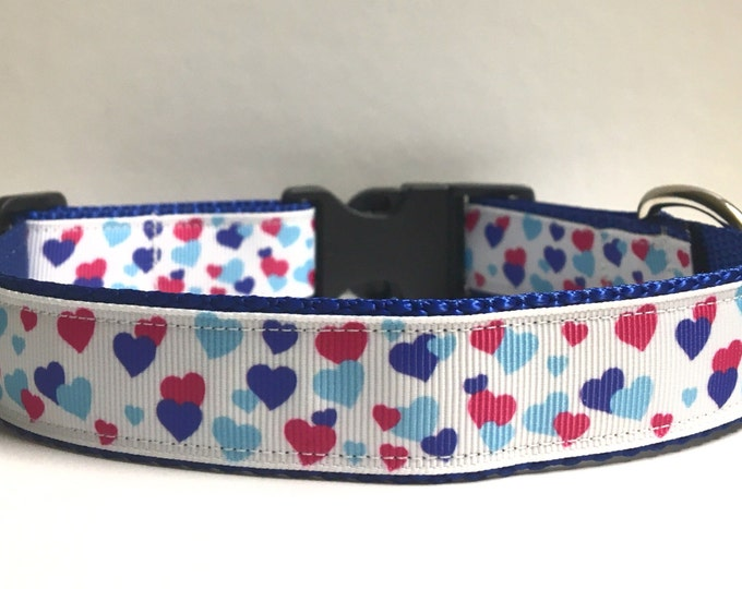 "1"" Blue & pink hearts on Navy collar"