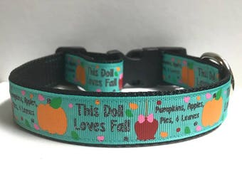 "1"" Pumpkin, Apples, Pies & Leaves Dog Collar"