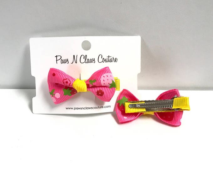 Pink & yellow fruit hair clip