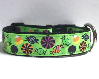 "1"" Candy on green Dog collar"