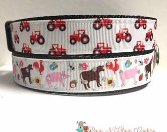 "1"" Farm Animals or Tractor Dog Collar"