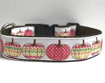 "1"" fall design pumpkins Dog collar"