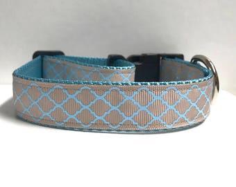 "1""Glitter Blue Quarterfoil Dog Collar"