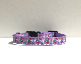 "3/8"" Unicorn on purple collar"