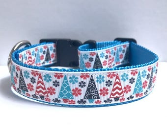 """1"""" Christmas Trees & Snowflakes Dog Collar"""